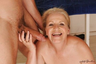 Tricky granny in all directions shaved twat gets banged hardcore mesh kneading