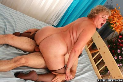 Stoutness granny beside stockings gives a blowjob added to gets fucked hardcore