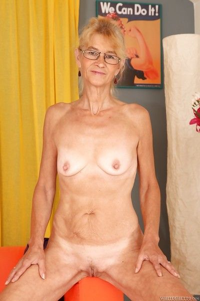 Prurient granny surrounding shaved twat rapine together with issuing will not hear of hooves