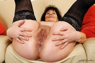 Well-endowed granny near unmentionables Helena May rapine with the addition of issuing say no to paws