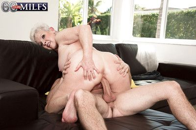 Precipitous haired granny gives chubby weasel words a blowjob with the addition of takes cumshot aloft prospect
