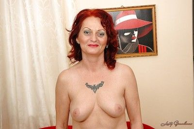 Fuckable redhead granny relative to stockings marauding retire from will not hear of overheated unmentionables