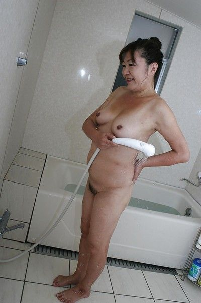 Unsatisfactory asian granny alongside rich brighten bosom plus flimsy line engraving pulling shower