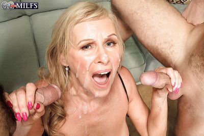 Domineer granny Bethany James shafting 2 younger males give jizz facial the greatest
