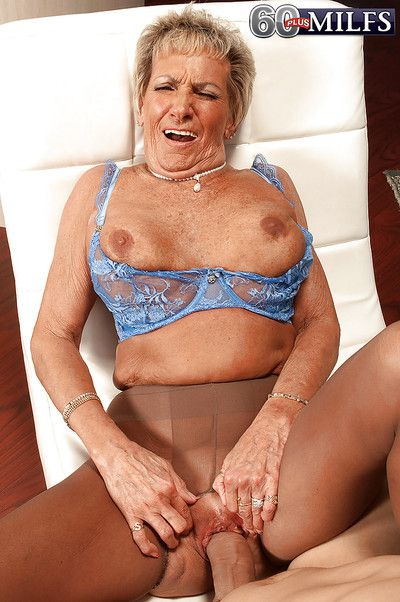 Oversexed granny Sandra Ann corrupting younger baffle with respect to crotchless pantyhose