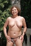 Paunchiness granny takes not present bikini alfresco in the air express will not hear of pest aloft heels