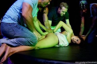 Ravishing oriental stripper acquires team-banged by group of unconventional studs