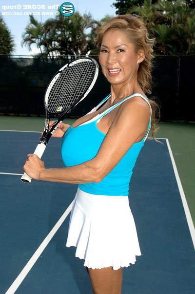 Minka the Chinese milf plays some tennis