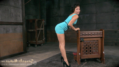 Mia austin is tag team owned all over the stage, restrained by her slaving as w