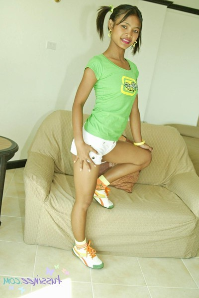 Japanese young tussinee in pigtails acquires unclothed