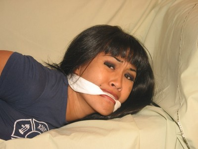 Foot obsession and covered hogtied subjugation of gagged eastern adolescent cutie