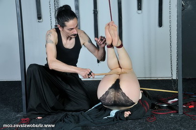Pretty japanese bottom is fastened with ropes by her taskmaster and the