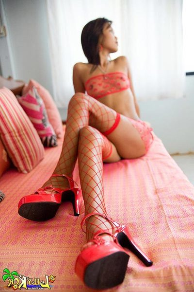 Porcelain Chinese banging angel Lily Koh wearing lacy red underclothes