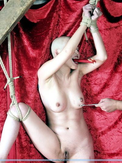 Japanese kumis slaving and boobs restriction of hairless burning slavegirl in acute puni