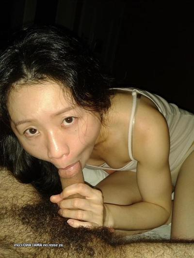 Concupiscent Korean GF with joyous melons sucks jock