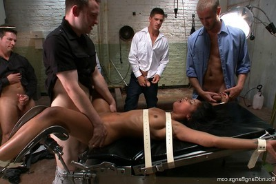 Hawt angel acquires fastened up, punished and owned by group of stallions
