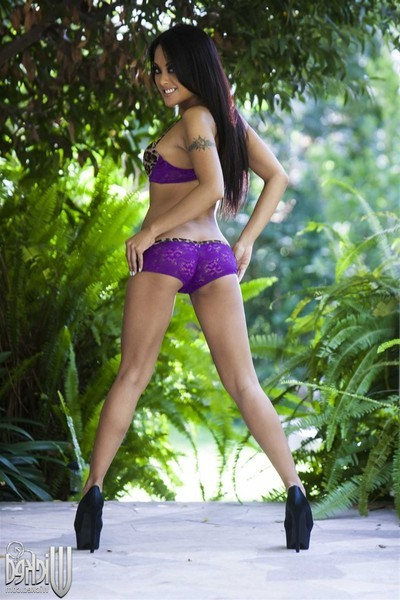 Kaylani lei takes on giant phallus in her purple underclothes
