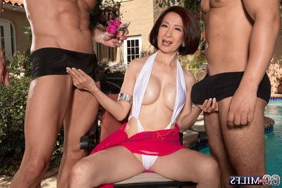 Double sticks for an Japanese wifes backdoor