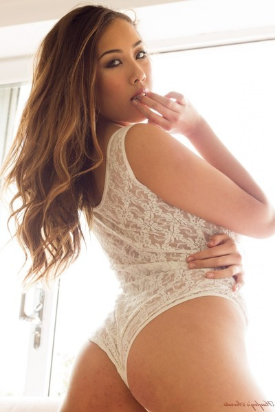 Rounded oriental pretty sarah in her lace sheer white underclothes