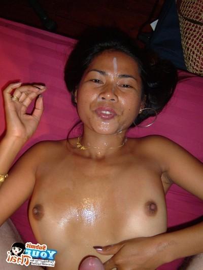 Thai barslut takes the schlong in each break