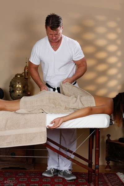 Ache Chinese gains beguiled on a massage table