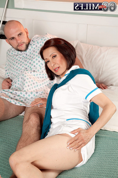 Japanese calm nurse humps with her unrepining