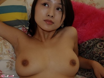 Japanese naked angel showed her bushy twat
