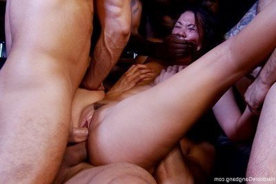 Deviant Japanese beauty benefits from team-fucked by group of deviant men