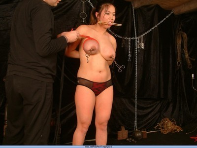 Boobsy eastern slavegirl in boobs restriction and intense tit torments