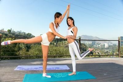 Girl-on-girl yoga porn