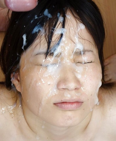 Eastern cutie getting tough bukkake facial spermshooting