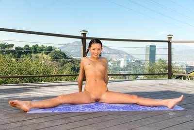 Stretched Japanese infant alina li undressed yoga
