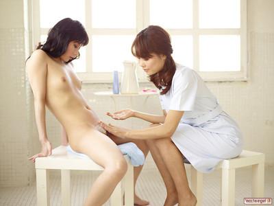 Sweet Japanese dear depilation girlfriends elegant bawdy cleft