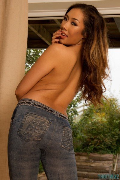 Rounded eastern angel way in her taut jeans