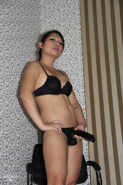 Goddess pancake wearing strap-on schlong