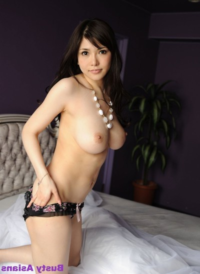 Anri okita posing her average largest milk shakes in ebon sexy pants