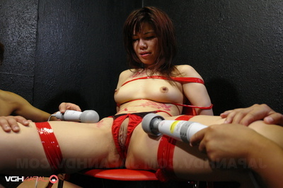 Tied-Up Bond In Red Underware Takes Some Loved Vibrations On A Chair.