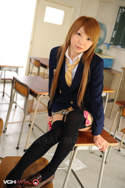 Damsel In A Blue Coat And Ebon Nylons Face-Sitting In The Classroom.