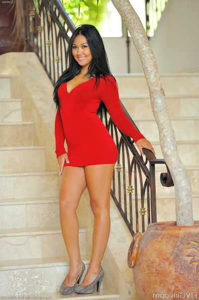 Juvenile Chinese In Red Costume And Brown Underclothing Plays With Her Cunt On The Stairs