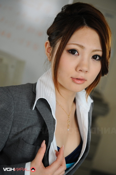 Ideal Secretary In Glasses And A Grey Outfit Flashes Her Blue Bra.