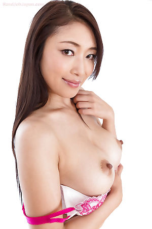 Hawt Japanese angel giving sloppy cock stroking and licking up dribbling dick water