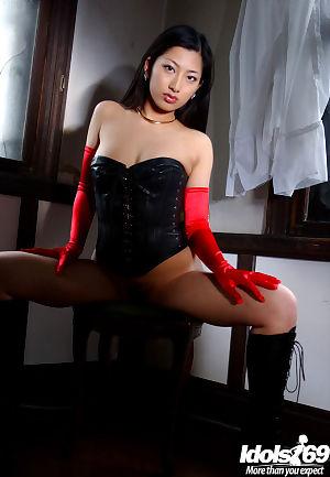 Stunning oriental girl Ran Asakawa showing off her tiny scoops - part 2