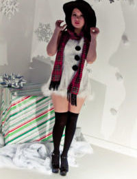 Sticky redhead Japanese Sydney Mai in Christmas dress flashing without clothes upskirt