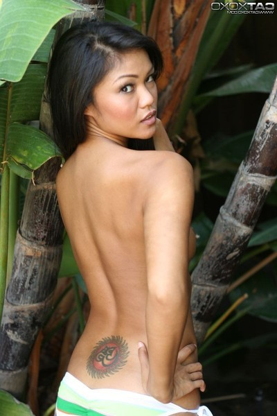 Slim oriental angel with petite titties
