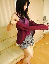 Perky eastern chicita Makoto Aikawa uncovering her slippy stoops