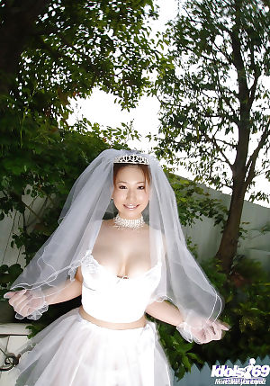 Enormous busted oriental bride Ai Sayama striptease off her clad