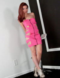 Perspired redhead Japanese Sydney Mai crawls in heels stark as was born with moist anus