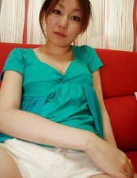 Chinese young Madoka Kanbe undressing and exposing her wavy bawdy cleft