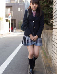 Super sexually excited Eastern schoolgirl hikes her uniform to use dualistic marital-devices to climax