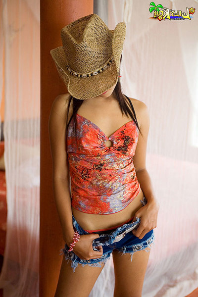 Spectacular Chinese juvenile in cowboy hat trips down skimpy underwear